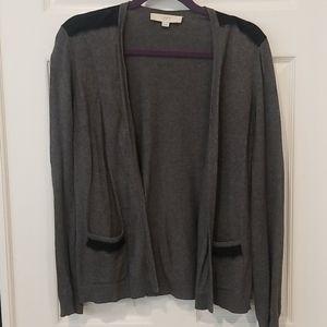 Loft lace trim gray open cardigan
